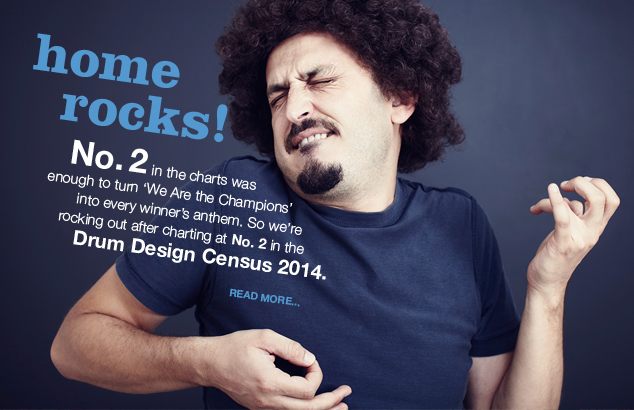 Home rocks! No.2 in Drum Design Census 2014 : Image of a guy playing air guitar
