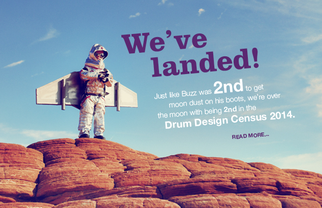 Home rocks! No.2 in Drum Design Census 2014 : Image of child with rockets wings stading on top of red rocks