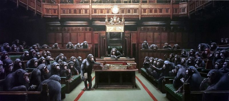 Banksy - Devolved Parliament (image taken by Alan Clarke at The Bristol Museum and Art Gallery)